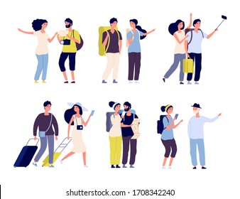 Tourist characters. Young couple family, tourists travelling with backpacks and bags, suitcases. Summer vacation people isolated
