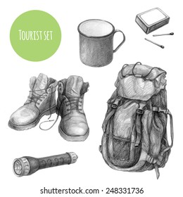 Tourist equipment set. Hike and camping tourism hand drawn design elements. Backpack, boots, mug, matches, pocket flashlight