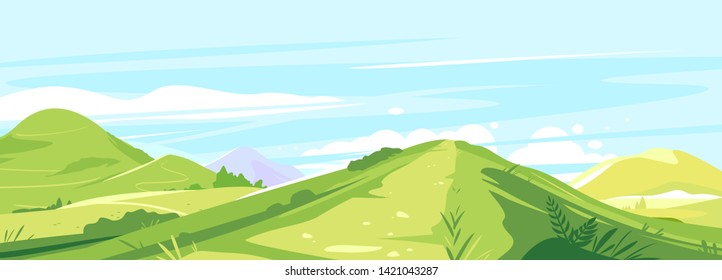 Tourist trails in the beautiful green mountains in sunny day, hiking travel concept illustration background, top of the hill, traverse route