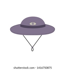 Tourist trip flat icon. Cap for travel wear. Minimal style. Sunhat for trip logo template. Outdoor sport, expedition journey gear hat. Adventure tripping symbol. Tourism banner background illustration