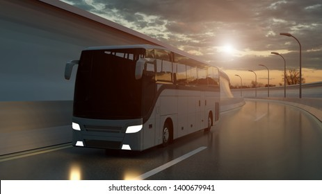 Tourist white bus driving on a highway at sunset backlit by a bright orange sunburst under an ominous cloudy sky. 3d Rendering.