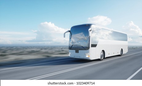 tourist white bus on the road, highway. Very fast driving. Touristic and travel concept. 3d rendering.