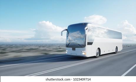 weißer Touristenbus auf der Straße, Autobahn. Sehr schnelles Fahren. Touristik- und Reisekonzept.3D-Darstellung.