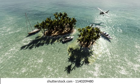 tourists around a small tropical island 3d illustration
