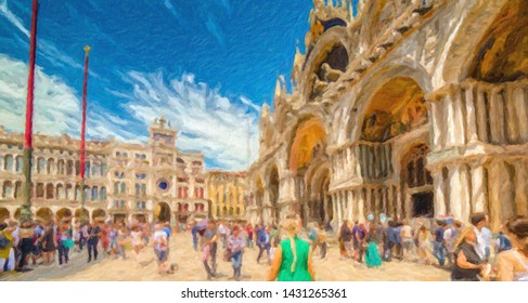 tourists are enjoying the stunning Basilica and other monuments and buildings of Saint Mark's Square, perhaps the world's most famous squares, painting illustration