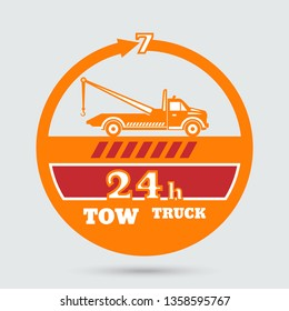 Tow truck emblem. Wrecker icon. Round the clock evacuation of cars. Design can be used as a logo, a poster, advertising, singboard.