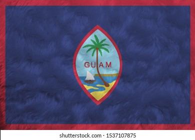Towel fabric pattern flag of Guam, Crease of Guam flag background, dark blue background with a thin red border and the Seal of Guam.