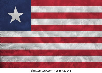 Towel fabric pattern flag of Liberia, Crease of Liberian flag background. Eleven horizontal stripes of red and white with white star on a blue field.