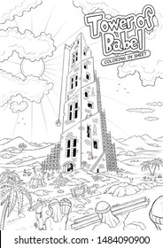 Tower of Babel bible story - coloring in sheet