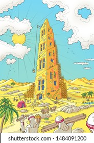 Tower of Babel bible story - colour illustration