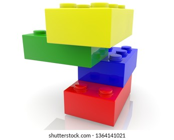 Tower of colorful toy bricks.3d illustration