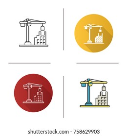 Tower crane icon. Flat design, linear and color styles. Building, constructing. Isolated raster illustrations