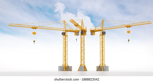 Tower Crane. Isolated on Cloud Background. 3D illustration