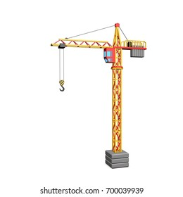 Tower crane. Isolated on white background.3D rendering illustration.
