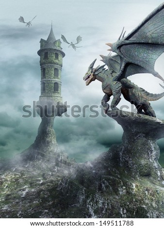 tower guarded by dragons stock illustration 149511788 shutterstock