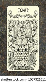 Tower. The Magic Gate tarot deck card. Fantasy engraved illustration with occult mysterious symbols and esoteric concept, vintage background