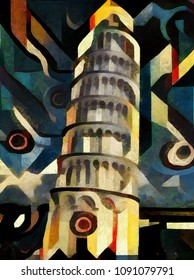 The tower of Pisa. A masterpiece of world architecture. The painting is made in the modern style of abstract cubism oil on canvas.