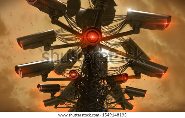 Tower or pylon with several cctv cameras attached to it, scanning nearby surroundings. Future with constant surveillance and social credit system concept. 3D rendering
