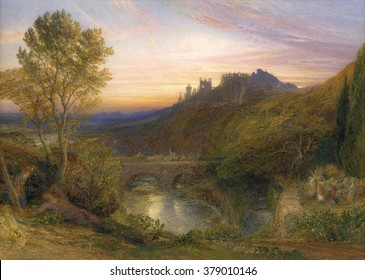 The Towered City The Haunted Stream), by Samuel Palmer, c.1850-75. English watercolor painting. Visionary British romantic idyillic landscape with dancers