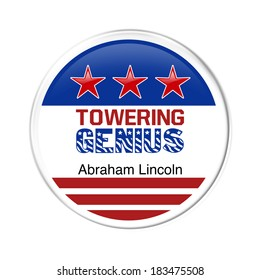 Towering Genius Badge for Lincoln Day Celebration