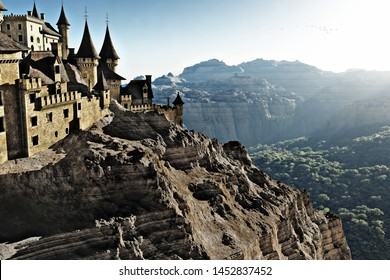 Towering stone castle high above on the cliffs overlooking a mountain gorge with forest trees below .God rays in the far distance. Fantasy 3d rendering