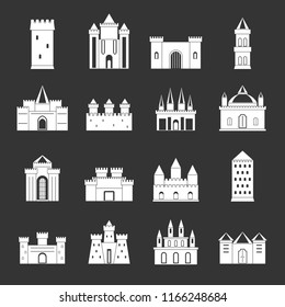 Towers and castles icons set white isolated on grey background