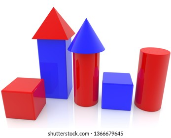 Towers and toy cubes in red and blue.3d illustration