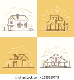 Town buildings - set of thin line design style illustrations on white and yellow background. Collection of nice small houses, lantern, tree, fence, merry go round, clouds. Suburban architecture