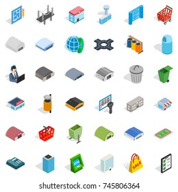 Town icons set. Isometric style of 36 town  icons for web isolated on white background