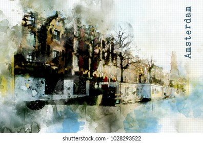 town life in watercolor style - Amsterdam