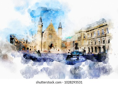 town life in watercolor style - the Hague