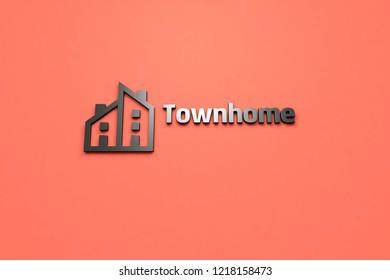 Townhome 3D illustration, dark color on light red background.