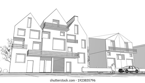 townhouse architectural project sketch 3d illustration