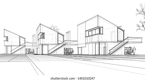 townhouse, architectural sketch, 3d illustration