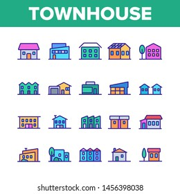 Townhouses, Residential Buildings Linear Icons Set. Townhouse, Cottage And Villa Outline Symbols Pack. Countryside And Suburbs Area Property, Real Estate Isolated Contour Illustration