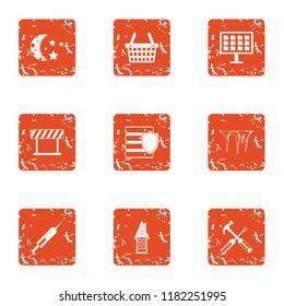 Township icons set. Grunge set of 9 township icons for web isolated on white background