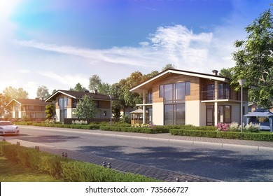 Township townhouses in the English style,3D render, 3D illustration; 300 dpi; cottage 3d