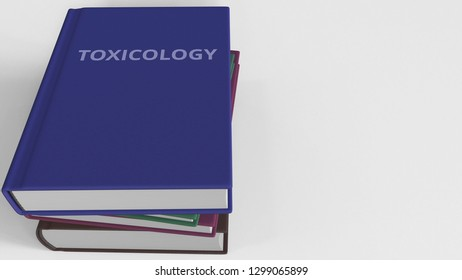 TOXICOLOGY title on the book, conceptual 3D rendering