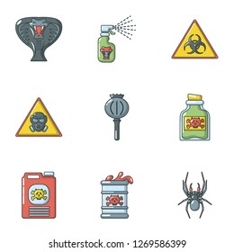 Toxin icons set. Cartoon set of 9 toxin icons for web isolated on white background