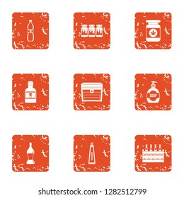 Toxin icons set. Grunge set of 9 toxin icons for web isolated on white background
