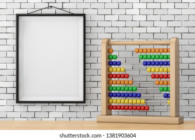 Toy Abacus with Rainbow Colored Beads in front of Brick Wall with Blank Frame extreme closeup. 3d Rendering
