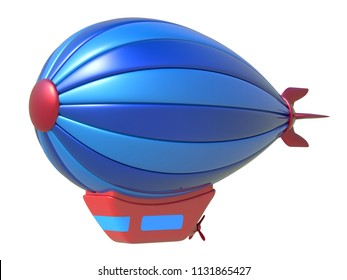 Toy airship isolated on white background. 3d rendering.