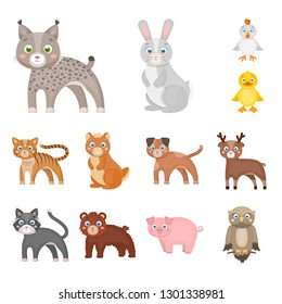 Toy animals cartoon icons in set collection for design. Bird, predator and herbivore bitmap symbol stock web illustration.