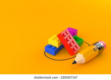 Toy block with pencil isolated on orange background. 3d illustration