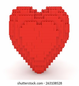 Toy bricks red heart over a white background. Part of a series.