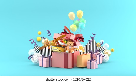 Toy cars, planes, teddy bears and trains are in gift boxes amid colorful balls on a blue background.-3d rendering.