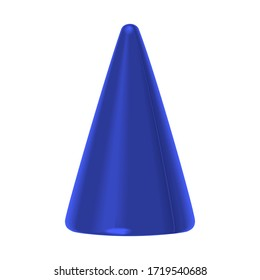 Toy, colorful blue plastic cone isolated on a white background. 3d illustration