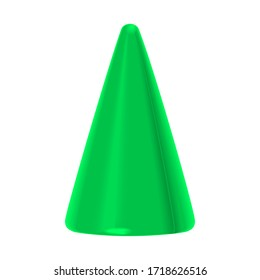 Toy, colorful green plastic cone isolated on a white background. 3d illustration