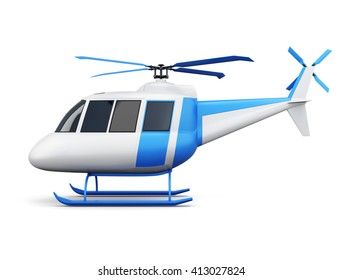 Toy helicopter isolated on white background. Side view. 3d rendering.