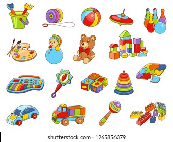 Toy icon collection -  color illustration. Kids toys